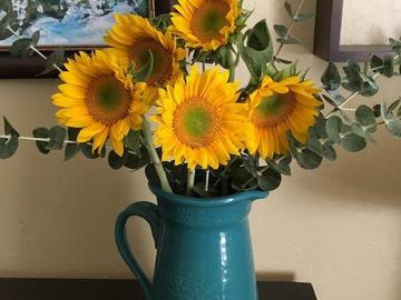 Selling: Teal ceramic pitcher vase
