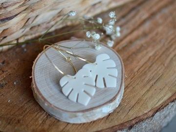 Selling: White Monstera hoop earrings