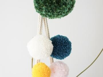 """Selling: Macrame plant hanger - """"Poms: Multi Green"""