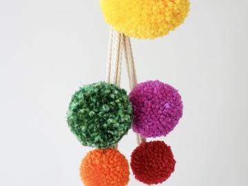 "Selling: Macrame plant hanger - ""Poms: Multi Yellow"""