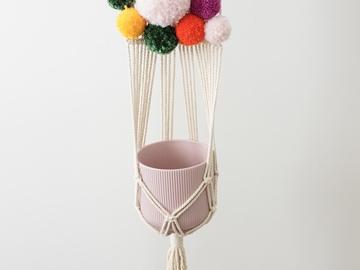 "Selling: Macrame plant hanger - ""Poms: Jewel"""
