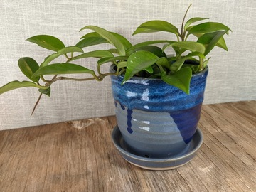 Selling: Planter and saucer combo planter in blues with drips, #21-32