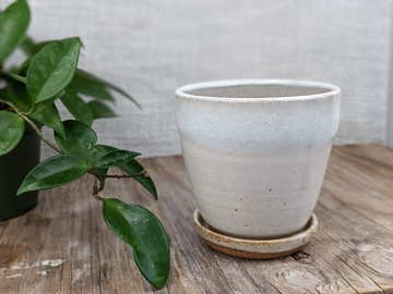 Selling: Cute handmade little white planter and saucer, #21-59
