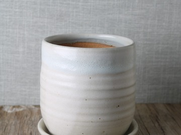 Selling: contemporary natural white pot and saucer, #21-72