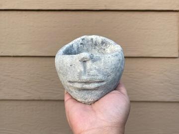 Selling: Half head concrete plant pot