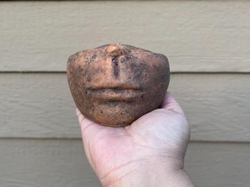 Selling: Half head concrete plant pot (terracotta color)